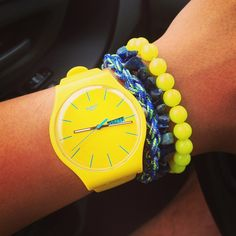 Kinda bright for me but I like the idea of the bracelets Candy Jewelry, Hand Watch, Stylish Watches, Beautiful Watches, Mellow Yellow, Fashion Watches, Bracelets, Women's Accessories, Jewelery
