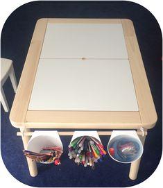 IKEA hack avec table d'enfant FLISAT et pots BYGEL                                                                                                                                                                                 More