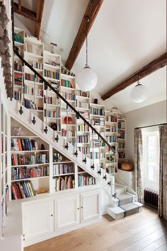 Take a look at our latest collection of interiors featuring 15 Dazzling Eclectic Staircase Designs That Bring Color To The Home. Home Library Rooms, Home Library Design, Home Libraries, Dream Home Design, House Rooms, My Dream Home, Home Interior Design, Home Design Decor, House Design