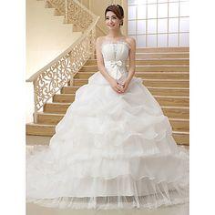 Ball Gown Strapless Organza Chapel Train Wedding Dress – USD $ 69.99