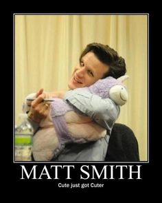 Matt Smith, with what appears to be a unicorn pillow pet, cute just got cuter Matt Smith has a Pee Wee!!!,
