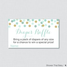 Mint and Gold Baby Shower Diaper Raffle Ticket by ShowerThatBaby