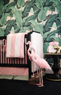 Today we are going to show you some baby room decoration ideas in tropical style. Tropical decoration is an exotic solution when it comes to the design of Nursery Room, Girl Nursery, Girl Room, Baby Room, Nursery Ideas, Nursery School, Flamingo Nursery, Flamingo Print, Tropical Bedrooms