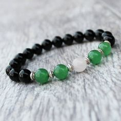 jade bracelet, rose quartz bracelet, black onyx bracelet, wrist mala, pink bracelet, yoga bracelet, meditation jewelry, black bracelet,