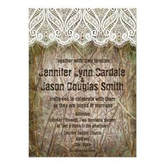 "Rustic Country Camo Hunting Wedding Invitations with printed lace design and ""shotgun"" style font"