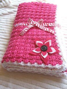 Handmade Crocheted Baby Blanket in White Pink by 3citieshandmade, $35.00