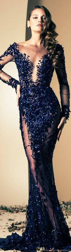A showstopping evening gown in navy blue
