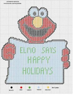 HAPPY HOLIDAYS ELMO by SUNSHINE DESIGNS -- WALL HANGING