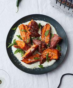 Roasted Sweet Potatoes with Chile Yogurt and Mint Recipe | Bon Appetit