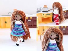 Tiny Amigurumi Girl Crochet Doll Waldorf by PinkMouseBoutique