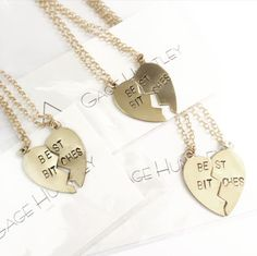 #bestbitches  Tag your #bestie! Grab these matching necklaces at  GageHuntley.com #gagehuntley #custom #stamped #necklaces #friends #besties #heart #gold #style #jewelry #accessories #ootd #love
