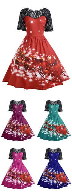 #PlusSize #PartyDress Only $14.82 | Lace Panel Father Christmas Midi Party Dress | Sammydress.com