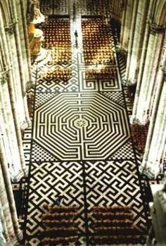 Labyrinth of Amiens Cathedral Type: Octagonal; Chartres-type pattern Status: Original Destroyed, Remade   The Labyrinth of Amiens Cathedral is the second largest in France, being slightly smaller than its cousin in Chartres. Measuring about 12.1 meters wide, the labyrinth occupies the entire width of the fourth and fifth bays of the nave, and is thought to have originally been placed in the cathedral in 1288.