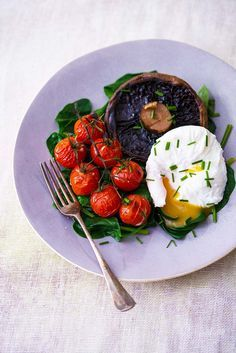 Poached Egg with Spinach, Portabello Mushroom and Vine Tomatoes. Egg protein keeps you fuller than wheat protein, and spinach is packed with iron, vitamins and minerals