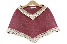 Poncho bordeaux com renda larga