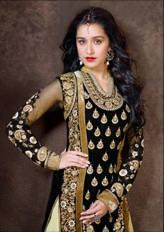 Shraddha Kapoor Cream and Black Anarkali Designer Dress Material