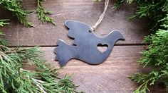 Dove Love Rustic Christmas Ornament Metal Bird Heart Christmas Tree Decoration Holiday Gift Industrial Decor Wedding By BE Creations by rvmetalshop on Etsy https://www.etsy.com/listing/462683552/dove-love-rustic-christmas-ornament