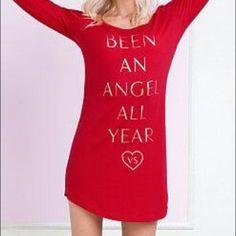 "Victoria's Secret sleep shirt ""Been an Angel All Year"" Victoria's Secret sleep shirt - long sleeve - size S - worn only once Victoria's Secret Intimates & Sleepwear Pajamas"