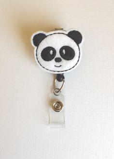 Panda Bear Felt Badge Reel  Retractable ID by SimplyReelDesigns, $6.00