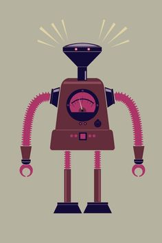 Robot illustration for T-shirt by James Gilleard