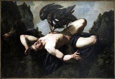 Prométhée était, dans la mythologie, le cousin de Zeus. C'est lui qui donna naissance aux humains, avec de l'argile et de l'eau. Puis il déroba le feu sacré de l'Olympe et décida d'en faire don aux humains — ainsi ils seraient aussi puissants que les dieux! Pour ces derniers, l'affront fut insupportable. Zeus condamna Prométhée à être enchaîné nu à un rocher d'une montagne du Caucase, en Asie. Chaque jour, un aigle venait lui dévorer le foie. Pendant la nuit, son foie se reconstituait.