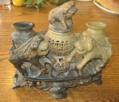 vintage soapstone vase with 3 chinese lions or by BandCEmporium, $85.00