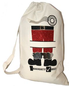 Santa Sack Gift Bag for Kids Eco Friendly by GlitterGlassAndSass