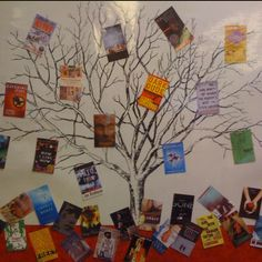 "Branch out.read something new library bulletin board ""Learn something new"" tree of life? School Library Displays, Middle School Libraries, Elementary Library, Classroom Displays, Reading Bulletin Boards, Bulletin Board Display, Reading Display, Reading Tree, Library Boards"