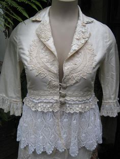 ROMANTIC upcycled jacket Vintage Kitty by sistersroseandruby, $224.00