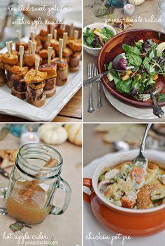 fall lunch: pear bruschetta, pomegranate salad, individual chicken pot pie