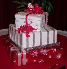 Christmas package wedding cake