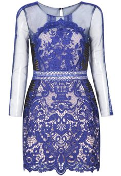 Blue Long Sleeve Lace Hollow Bodycon Dress 47.67