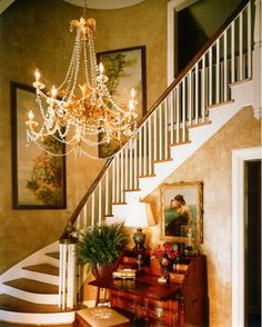 *Stairs and entryway design (transition from blue oriental wallpaper dining room w/gold to greenish living room w/gold)