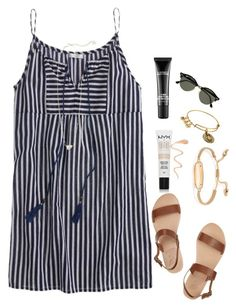 """When your plans get completely messed up "" by madelyn-abigail ❤ liked on Polyvore featuring J.Crew, Ancient Greek Sandals, NYX, Kendra Scott, MAC Cosmetics, Alex and Ani and Ray-Ban"