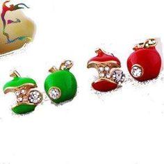 NWT 2 Pairs Lovely Bitten Apple Fruit Women's/Girls Stud Earrings With Stones