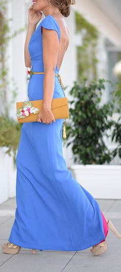 Beautiful Blue gown for parties & wedding guests Lovely Dresses, Elegant Dresses, Casual Dresses, Gala Dresses, Evening Dresses, Chic Dress, Dress Up, Party Fashion, Fashion Outfits