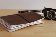 Ledereinband / Travel Journal für 2 Moleskine Cahier / Field Notes dunkelbraun | eBay