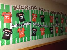 Love this bulletin board idea for the sports classroom. Each student could have their own jersey - even representing various sports! Football Bulletin Boards, Classroom Bulletin Boards, Classroom Door, Classroom Displays, School Classroom, Teamwork Bulletin Boards, Team Bulletin Board, August Bulletin Boards, Classroom Ideas