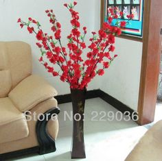"Aliexpress.com : Buy 5PCS Artificial Red Cherry Plum Spring Peach Blossom Spray Branch Silk Flower Tree Beautiful Home Decoration Free Shipping 49"" from Reliable flower pictures to paint suppliers on ZongHua Wu's store 
