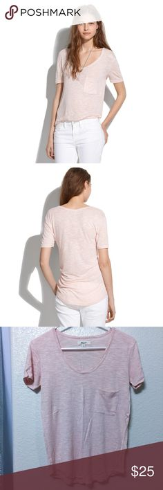 Madewell slouchy pocket tee, light pink in XS A lovely heathered baby pink tee in a ridiculously soft and comfy material. Perfectly drapes in all the right places for a relaxed and slouchy look. Dress it up with a statement necklace or keep it casual. 100% viscose. Size: XS. Measures 32.5 x 15.5 when laid flat. Barely worn. Madewell Tops Tees - Short Sleeve