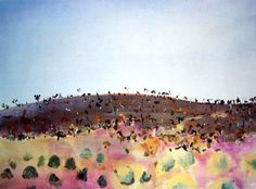 """Evening Landscape, Hammersley Ranges"", 1979, by Fred Williams (1927-1982), Gouache on Paper, 44 x 55cm."
