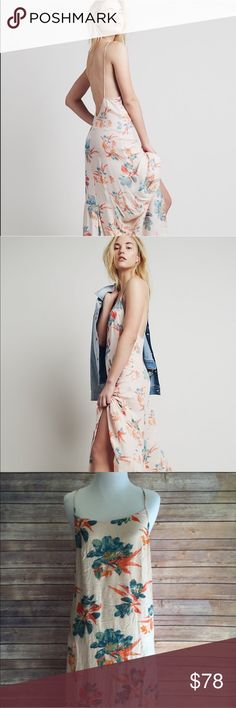 "Free People Maxi Intimately Free People Floral Maxi Dress in Hibiscus combo with open back. The perfect dress for summer! Length 58"" ✌️ Free People Dresses Maxi"