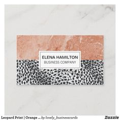 Leopard Print   Orange Marble Color Block Business Card