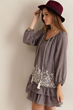 Drop Waist Peasant Dress - Mocha - Knitted Belle Boutique  - 3