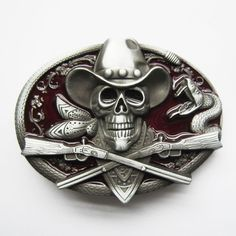 Cowboy Belt Buckle: Skull with Crossed Rifles Rodeo Rattle Snake Belt Buckle-Red