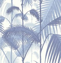 """Palm Junge Cole & son. - 95/1005  - Blue on off white  - 11 yds by 20.5"""" wide  - Design Repeat: 25"""" Half drop  - Lead Time: usually ships between 7-10 days Price: $176.00 Per Roll"""