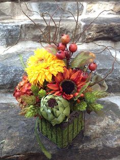 Autumn Hydrangea and Sunflower Floral Arrangement in Bird Cage. Orange, Yellow, Rust, Moss Green Faux flowers for Fall / Thanksgiving/ Gift.