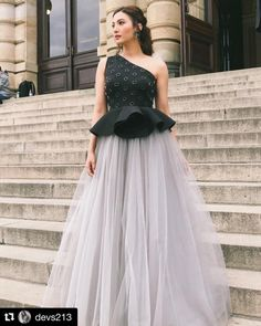 Gauhar Khan wearing peplum tulle gown from our latest collection Circle of life .- Khan wearing peplum tulle gown from our latest collection Circle of life ! Fancy Wedding Dresses, Party Wear Indian Dresses, Designer Party Wear Dresses, Indian Gowns Dresses, Indian Fashion Dresses, Dress Indian Style, Indian Wedding Outfits, Indian Designer Outfits, Designer Gowns
