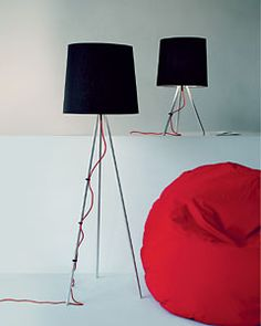 """Eva lamp by Emiliana Martinelli with a fantastic red """"pouf"""" Standing Lamps, Design Your Life, Sweet Home, Lighting, Red, Home Decor, Decoration Home, House Beautiful, Room Decor"""