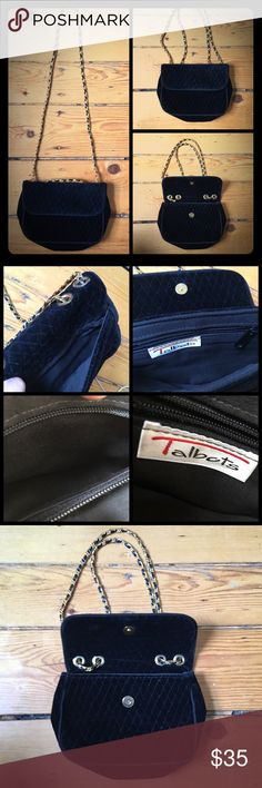 Black Velvet Talbots purse with gold chain strap Black Velvet Talbots purse with diamond patterned stitching. Gold chain link strap. Multiple pockets with zippers and snap closures. Lightly used. No stains or wear on inside lining. Beautiful! Talbots Bags